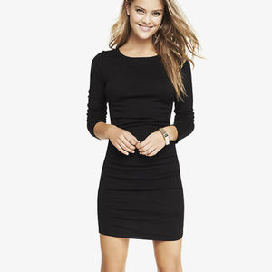 Zara Ruched Crew Neck Sweater Dress